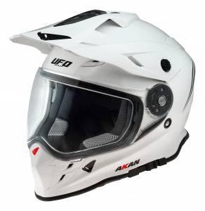 UFO Akan Solid White Dual Sport Helmet