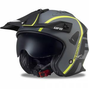 UFO Sheratan Jet Black Grey Open Face Helmet
