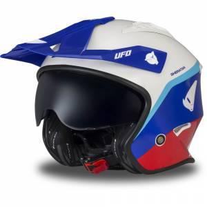 UFO Sheratan Jet White Blue Red Open Face Helmet