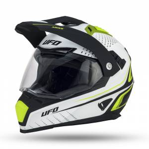 UFO Aries Black White Neon Green Dual Sport Helmet