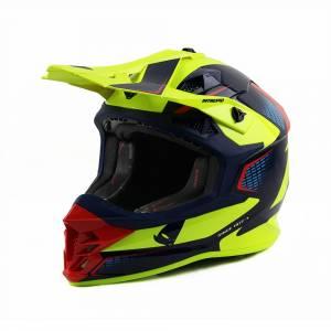 UFO Intrepid Blue Red Neon Yellow Motocross Helmet