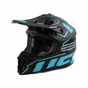UFO Intrepid Black Light Blue Motocross Helmet