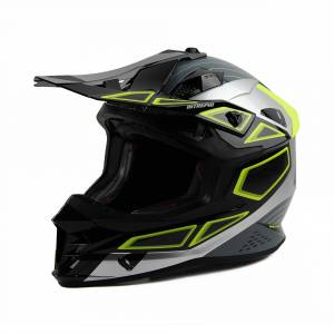 UFO Intrepid Black Grey Neon Green Motocross Helmet
