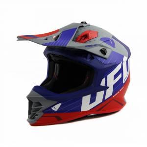 UFO Intrepid Blue Grey Red Motocross Helmet