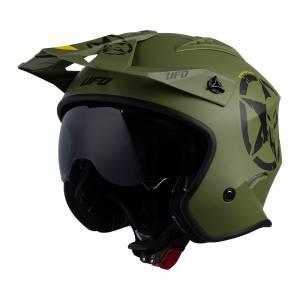 UFO Sheratan Jet Military Green Open Face Helmet