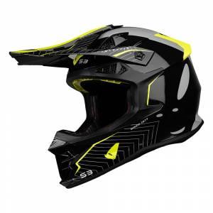 UFO Intrepid Grey Black Neon Yellow Motocross Helmet