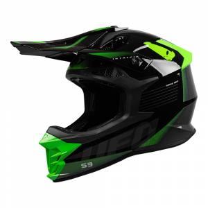 UFO Intrepid Grey Black Neon Green Motocross Helmet