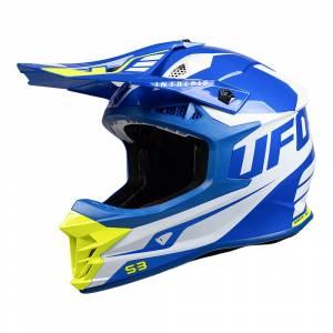 UFO Intrepid White Blue Neon Yellow Motocross Helmet