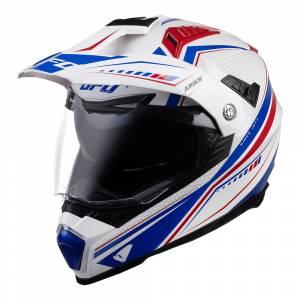 UFO Aries White Red Blue Dual Sport Helmet