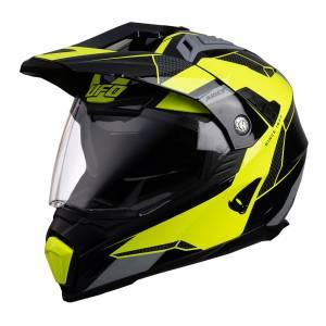 UFO Aries Tourer Crossover Grey Black Neon Yellow Dual Sport Helmet