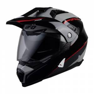 UFO Aries Tourer Crossover Grey Red Black Dual Sport Helmet