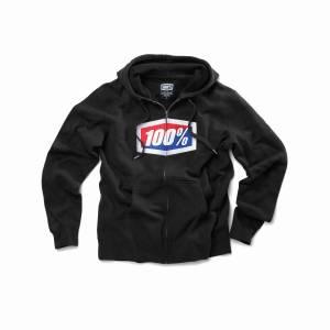 100% Official Black Zip Up Hoodie