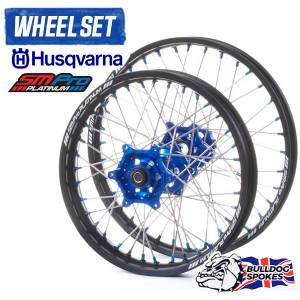 SM Pro Platinum Husky Blue Wheelset Bulldog Spokes Black Blue