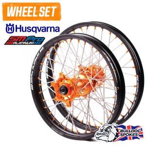 SM Pro Platinum Motocross Wheel Set - Husky Orange Black Orange