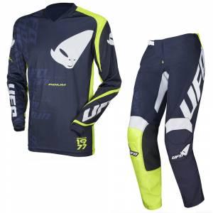 UFO Indium Blue Neon Green Motocross Kit Combo