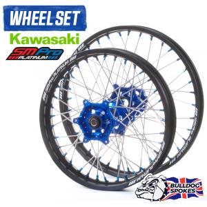 SM Pro Platinum Motocross Wheel Set - Kawasaki Blue Black Blue