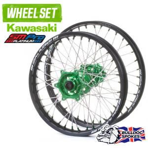 SM Pro Platinum Motocross Wheel Set - Kawasaki Green Black Green Bulldog Spokes