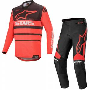 Alpinestars Racer Supermatic Bright Red Black Motocross Kit Combo