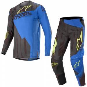 Alpinestars Techstar Factory Black Dark Blue Yellow Fluo Motocross Kit Combo