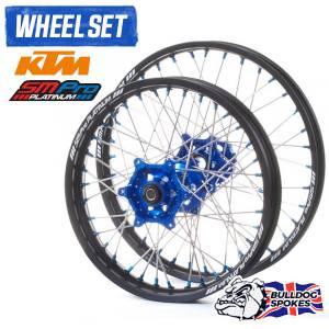 SM Pro Platinum Motocross Wheel Set - KTM Blue Black Blue