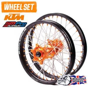 SM Pro Platinum Motocross Wheel Set - KTM Orange Black Orange