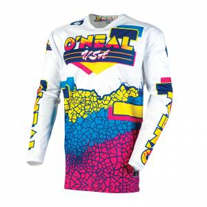 ONeal Mayhem Crackle 91 Yellow White Blue Motocross Jersey