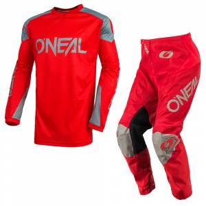 ONeal Matrix Ridewear Red Grey Motocross Kit Combo