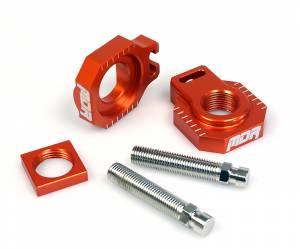 MDR Rear Axel Blocks & Adjuster KTM SX-SXF-EXC-EXC-F 125-450 (05-12) SXF-EXC-F 350 (11-12) Orange