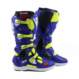Sidi Crossfire 3 SRS Yellow Fluo Blue Motocross Boots