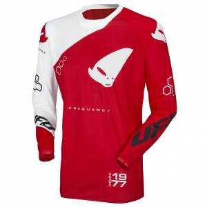UFO Frequency Slim Neon Red White Motocross Jersey