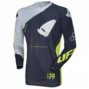 UFO Frequency Slim Blue Grey Neon Yellow Motocross Jersey
