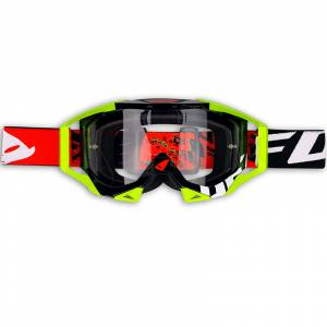 UFO Sirius Black Red Neon Yellow Motocross Goggles