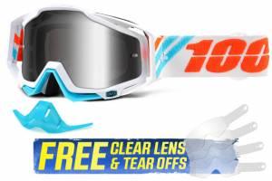 100% Racecraft Calculus Silver Mirror Lens Motocross Goggles