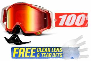 100% Racecraft Fire Red Red Mirror Lens Motocross Goggles