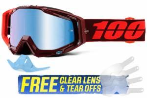 100% Racecraft Kikass Blue Mirror Lens Motocross Goggles