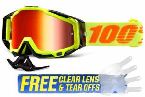 100% Racecraft Attack Yellow Red Mirror Lens Motocross Goggles