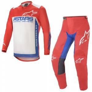 Alpinestars Racer Supermatic Red Blue White Motocross Kit Combo