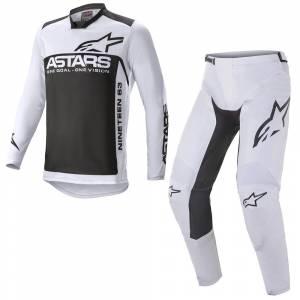Alpinestars Racer Supermatic Light Grey Black Motocross Kit Combo