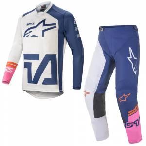 Alpinestars Racer Compass White Navy Pink Motocross Kit Combo