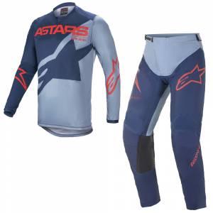 Alpinestars Racer Braap Dark Blue Powder Blue Red Motocross Kit Combo