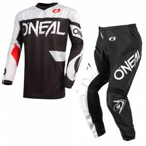 ONeal Element Racewear Black White Motocross Kit Combo