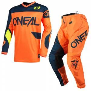 ONeal Element Racewear Orange Blue Motocross Kit Combo