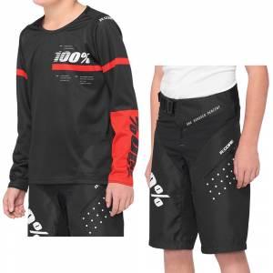 100% Kids R-Core Black Red Kit Motocross Combo 2
