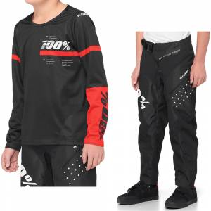100% Kids R-Core Black Red Motocross Kit Combo