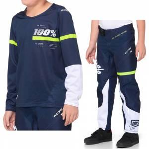 100% Kids R-Core Dark Blue Yellow Motocross Kit Combo
