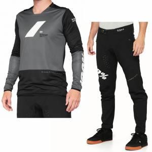 100% R-Core X Charcoal Black Motocross Kit Combo