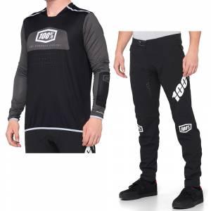 100% R-Core X Black White Motocross Kit Combo
