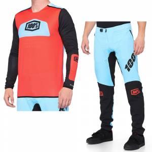 100% R-Core X Fluo Red Black Motocross Kit Combo