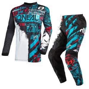 ONeal Element Ride Black Blue Motocross Kit Combo