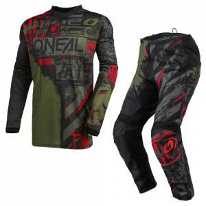 ONeal Element Ride Black Green Motocross Kit Combo